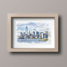 Watercolour New York Skyline Scene Home Print,Gift,Wall Art A4-Unframed