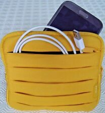 BELKIN 6'' Tablet & Accessories Travel Bag Pleated Padded Case Pocket Zip Yellow