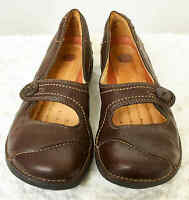 Clarks Unstructured Womens 8.5N Brown Leather Upper Mary Jane Button Loafer Shoe