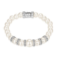 Bridal Crystal Silver Tone white Simulated Pearl and Crystal Bracelet DE