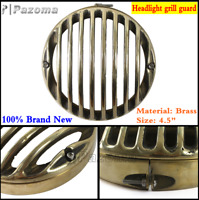 "Brass Motorcycle 4.5"" Headlight Headlamp Grill Guard Cover Protector For Harley"