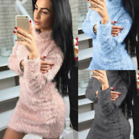 Pullover Long Mini Sleeve Sweater High Fleece Dress Womens Neck Bodycon