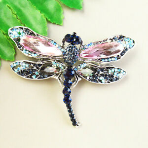 Pink Pave Crystal Dripping Oil Tibetan Silver Dragonfly Pendant Brooch J68597