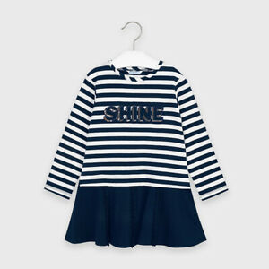 Mayoral Girl Striped Combined Dress in Navy (04985) Aged 2-8 Years