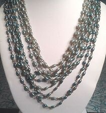 """Vintage Ten Strand Blue Green Plastic Bead Necklace 16"""" to 19"""""""