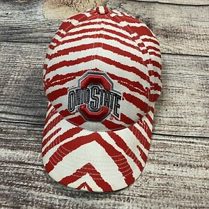 Vintage Zubaz Ohio State Buckeyes Red White Snapback Hat 1990s 90s Cap