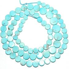 T462k Sleeping Beauty Blue Turquoise 4mm - 8mm Graduated Round Coin Beads 18""