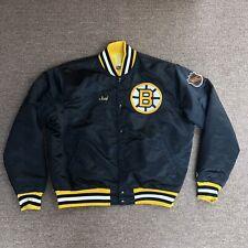 Vintage Starter Boston Bruins Nhl Men's Xl Blk Satin Bomber Jacket Usa