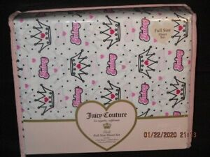 Juicy Couture Crowns Dots Print  4PC Full Sheet Set  *New*