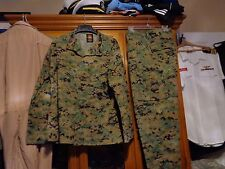 USMC MARPAT Uniform WOODLAND Combat Shirt & Pants in size LARGE LONG  LL  used