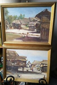 2 Elias Laxa (1905-1990) Philippines, Original Paintings. Village. Signed, 1961.