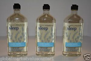3 Bath & Body Works Aromatherapy SLEEP BODY WASH LAVENDER VANILLA 10FL
