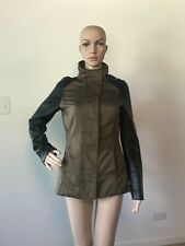 H&M Olive Army Green Cotton Jacket Black Faux Leather Sleeves Coat Zipper 4 / S