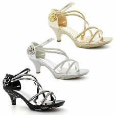 Bridal Shoes Size Womens Ladies Diamante Wedding Low Kitten Heel Strappy Sandals
