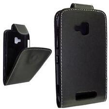 Nokia 610 Lumia - Housse Etui à clapet cuir éco noir + 1 protection écran