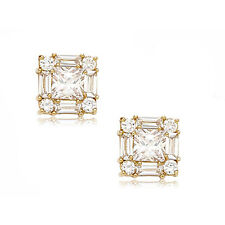 14k Yellow Gold White Sapphire Cluster Square Stud Push Back Earrings S-M-L-XL