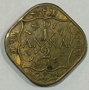 1945 British India 1/2 Anna Coin
