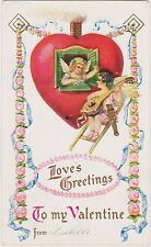 Rare Posted Divided Back Embossed Valentine Postcard w Cherubs Love'S Greetings