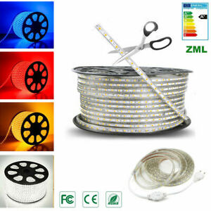 5050 LED Strip Light 1M-20M 220V 60leds/m Flexible tape rope Waterproof outdoor