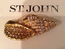 St John Collection.Designer Jewelry.Pin.Conch Shell.Gold Tone.Sparkle