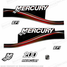Mercury 200hp EFI 2005 Style Red Outboard Engine Decals Reproductions in Stock