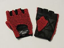 RED AIR MESH INVICTED FINGERLESS GLOVES WEIGHTLIFTING GYM CYCLING WHEELCHAIR L