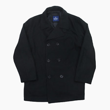 "Mens Old Navy Black Wool Naval Reefer Peacoat Coat 3XL XXXL Pea Coat Smart 57"""