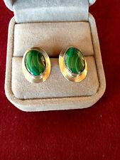 Rhodochrosite and sterling stud pierced earrings