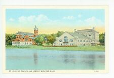St. Joseph's Church & Armory MEDFORD SQUARE Mystic River Antique 1910s