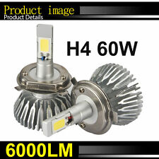 H4 60W LED Light Headlight Car Hi/Lo White Beam 6000k Bulb Kit 6000LM NEW