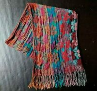 """Women's Scarf Oblong Floral Rectangle 64"""" Accordion Crinkled Pleated Fringe"""