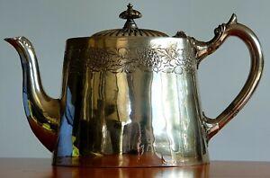 Antique Walker & Hall 1896 Silverplate Lidded Victorian Teapot Garland Design
