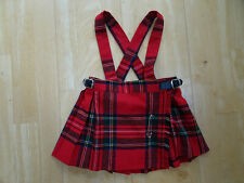 O NEIL OF DUBLIN girls red tartan kilt skirt braces AGE 1 - 2 YEARS EXCELLENT