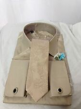 NEW  Beige Wedding Shirt &Tie Set  LARGE L305-12 -*SALE* REDUCED TO CLEAR