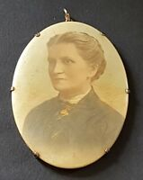 Hand painted miniature vintage Victorian antique portrait of a woman on a mirror