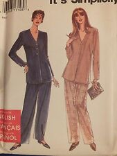 Easy OOP SIMPLICITY 9751 MS/Wmns Jacket/Tunic & Pants PATTERN 10-20/32.5-42B UC