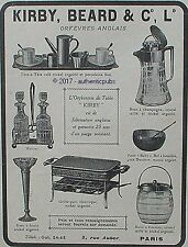 PUBLICITE KIRBY BEARD ORFEVRE TABLE GRILLE PAIN HUILIER BOITE A BISCUITS 1917 AD