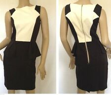 Closet~Striking Peplum Dress Black and Cream ColourBlock -Size 8  ~(R19)
