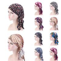Women Turban Headwear Chemo Scarf Floral Wrap Muslim Hat Cancer Head Cap Hijab