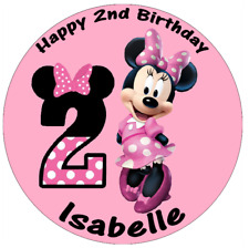 """Minnie Mouse 2nd Birthday Personalised Cake Topper 7.5"""" Edible Wafer Paper"""