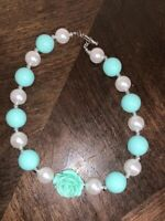 Girls/Toddler Bubble Gum Chunky Necklace Teal & White