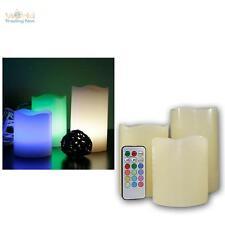 3er Set LED Kerzen 12 Farben TIMER Farbwechsel Fernbedienung, flammenlose Kerze