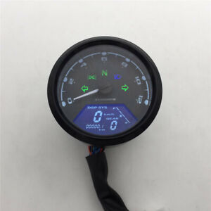 Motorcycle For Chopper Cafe Racer LCD Signal Speedometer Tachometer Gauge Alarm