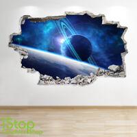 SPACE PLANET WALL STICKER WINDOW 3D LOOK - GALAXY MOON BOYS BEDROOM DECAL Z842