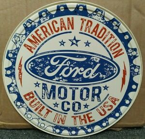 """FORD ,AMERICAN TRADITION , ROUND 12"""" METAL WALL SIGN,USA. MUSTANG, F150,BRONCO"""
