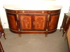French-style Console (with marble top & wood inlay)