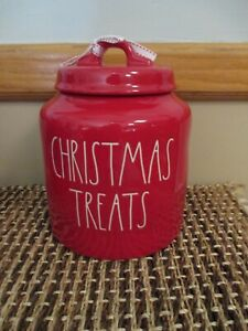 """NEW ~ Rae Dunn Chubby Red Holiday Canister ~ """"Christmas Treats"""" ~ Cookie Jar"""