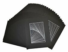 Pack of 50 8x10 BLACK Picture Mats with WhiteCore for 5x7 Photo