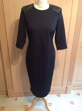 LOVELY LOST SOCIETY NEW LOOK BLACK 3/4 SLEEVE FITTED DRESS UK SIZE 14 WORN