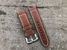 Thick Brown Leather Watch Strap Band & Stainless Steel Buckle 24mm for Panerai